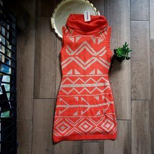 Mine bodycon geo Aztec sweater mini dress M